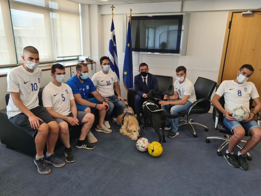 Συνάντηση του Γ. Σταμάτη με την Εθνική Ποδοσφαιρική Ομάδα Τυφλών